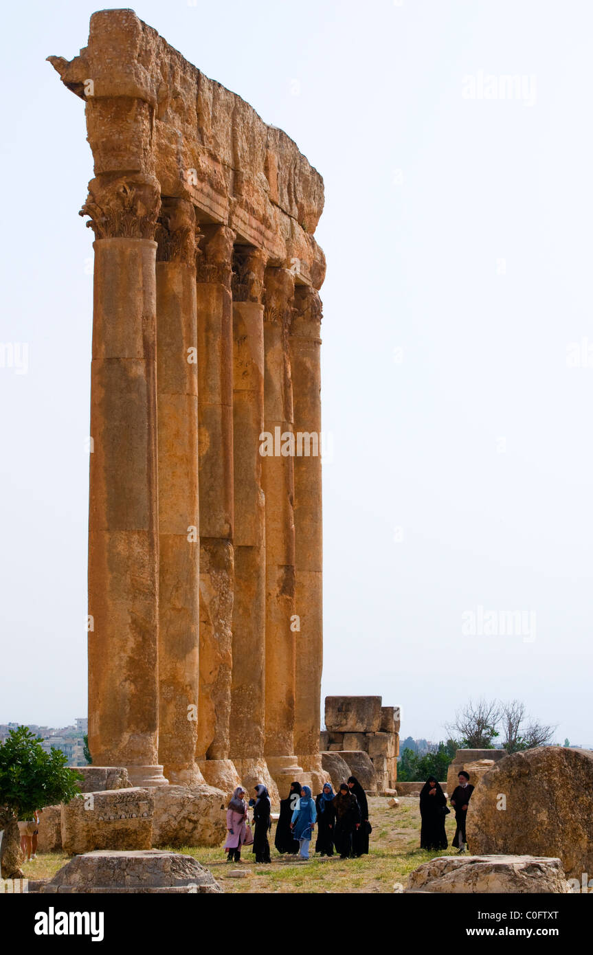 Local tourist visiting the Temple of Jupiter, archaeological site of Baalbek,UNESCO World Heritage Site. Bekaa valley. - Stock Image