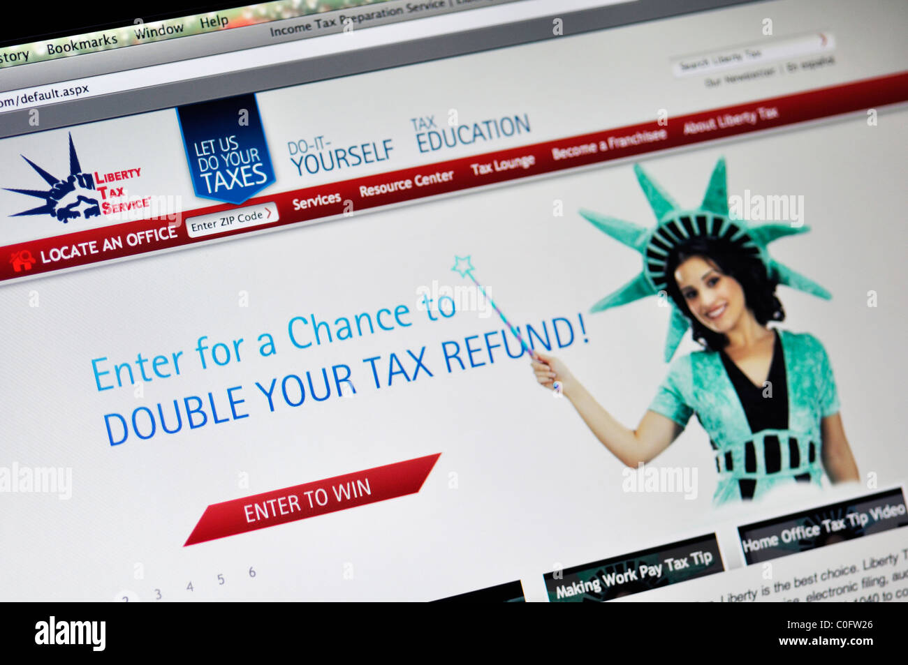 Liberty Tax Service income tax preparation website - Stock Image