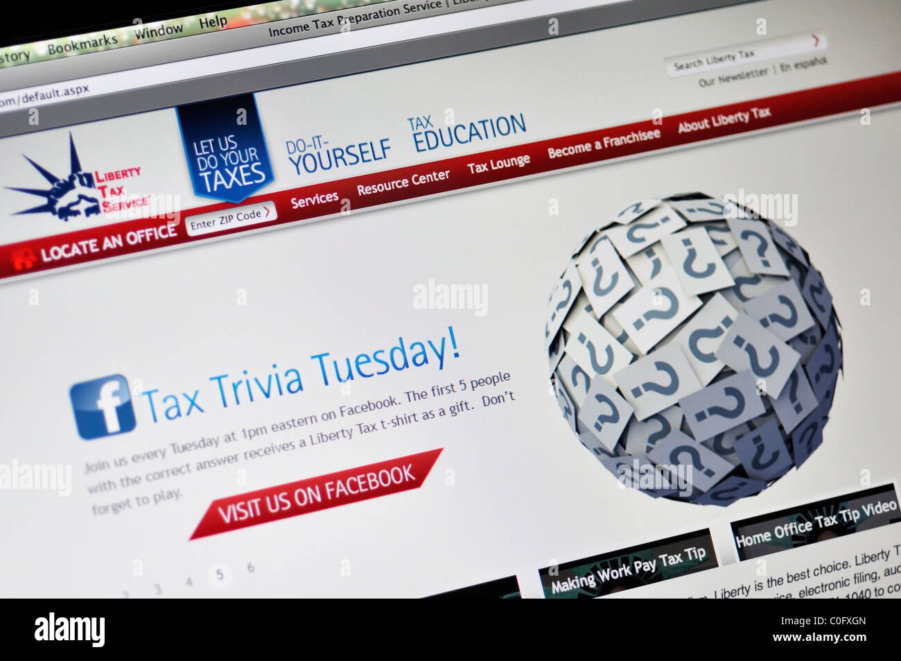 Liberty Tax Service - income tax preparation website - Stock Image