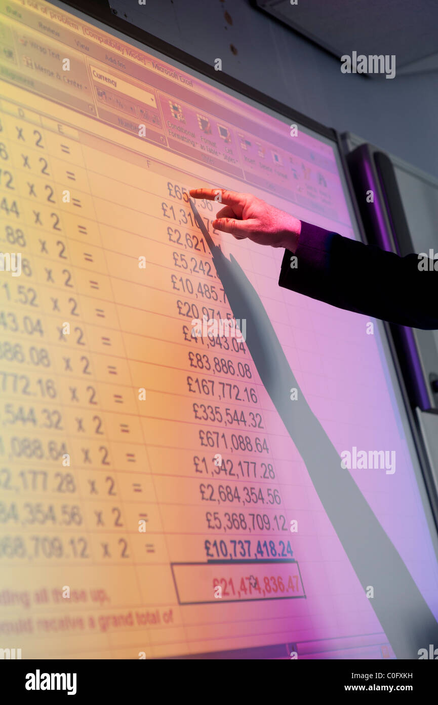 a man presenting a spreadsheet of figures on a interactive digital whiteboard