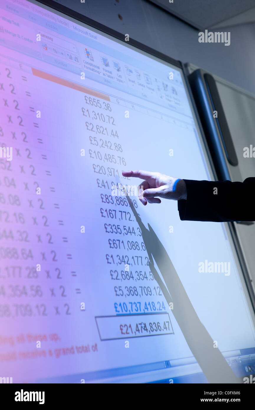 a man presenting a spreadsheet of financial figures on a interactive digital whiteboard uk