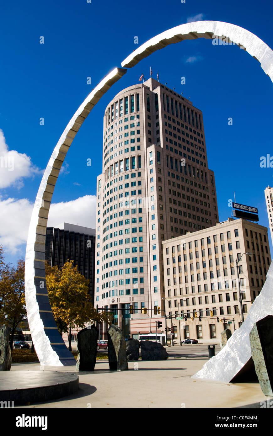 Michigan Labor Legacy Landmark, Hart Plaza, Detroit - Stock Image