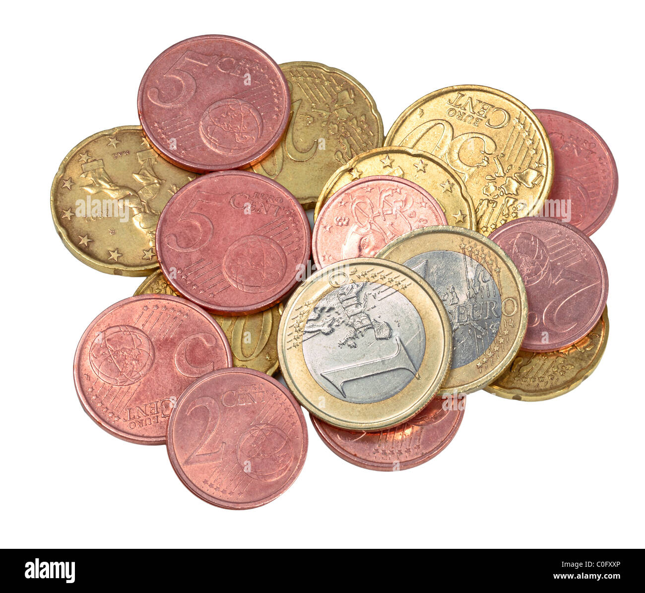Selection of used contemporary Euro coins, isolated on white - Stock Image