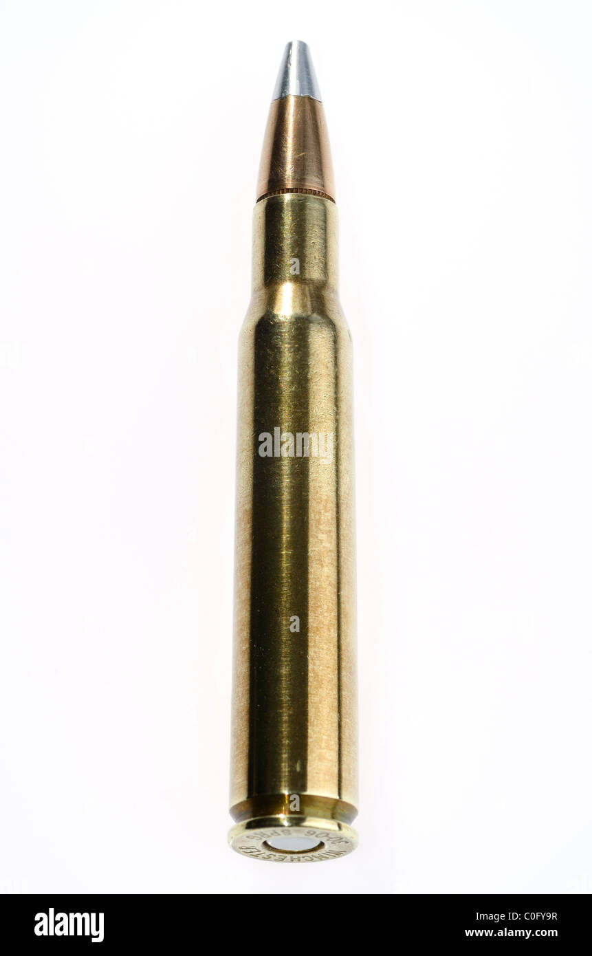 Full metal jacket Winchester 30 06 Springfield cartridge bullet - Stock Image