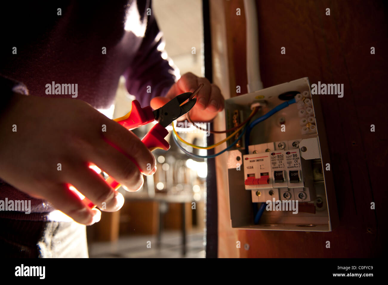 An electrician trimming electrical wires before fixing to a mains fuse box, UK - Stock Image