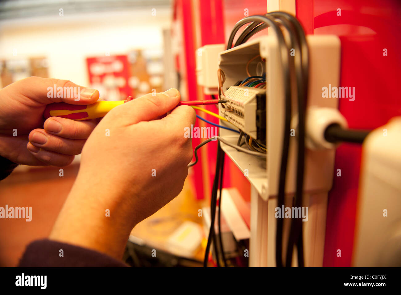 Changing Plug Fuses Wiring Diagrams In Fuse Box Wire Stock Photos Images Alamy 80 Amp