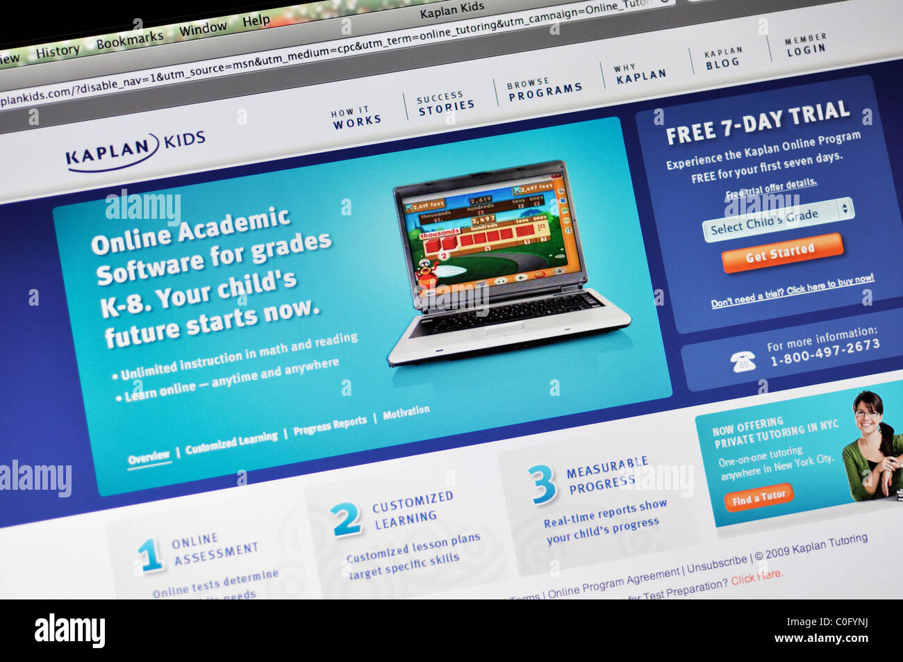 Kaplan education website - Stock Image