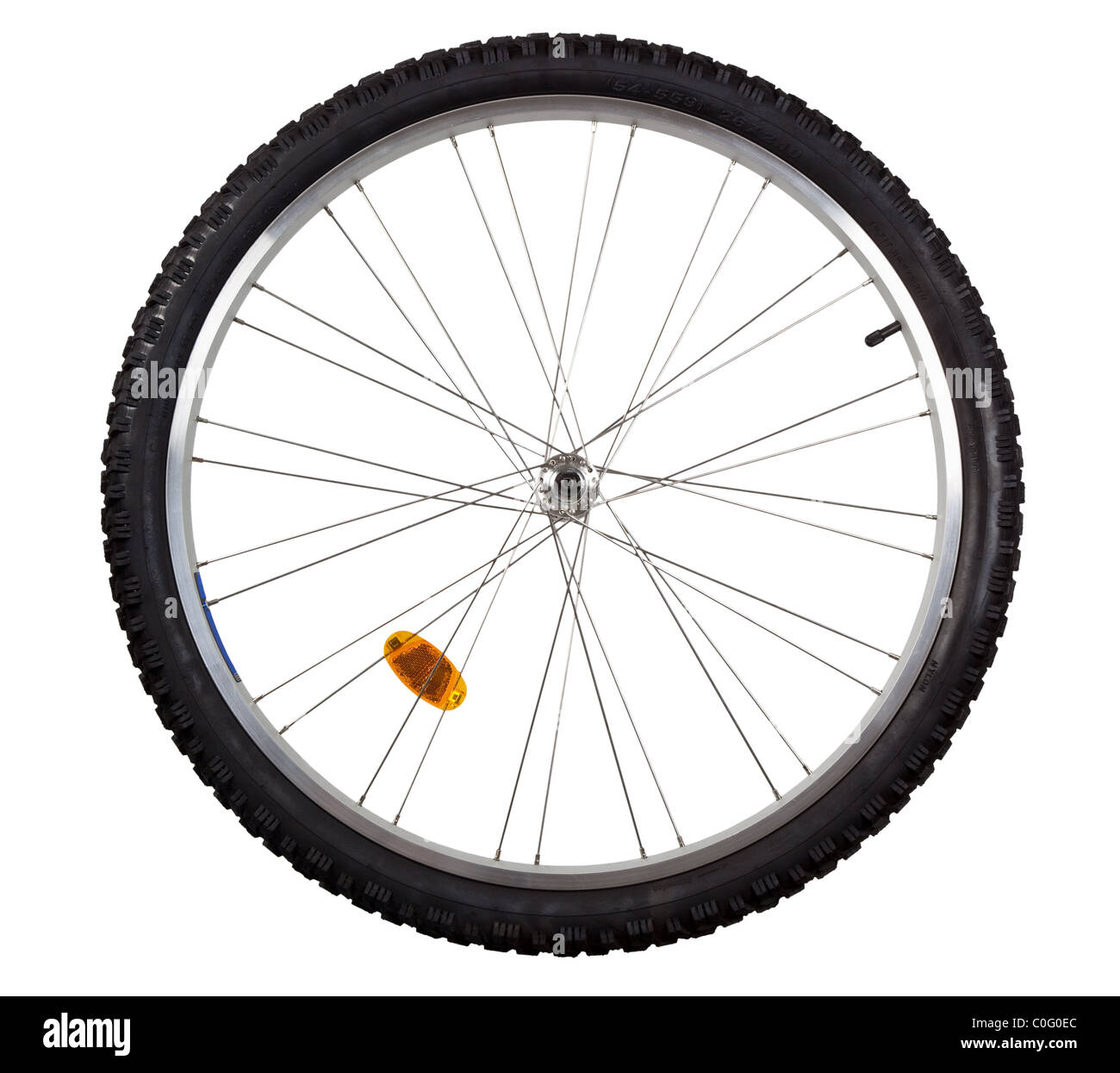 Front wheel of a mountain bike isolated on white background - Stock Image