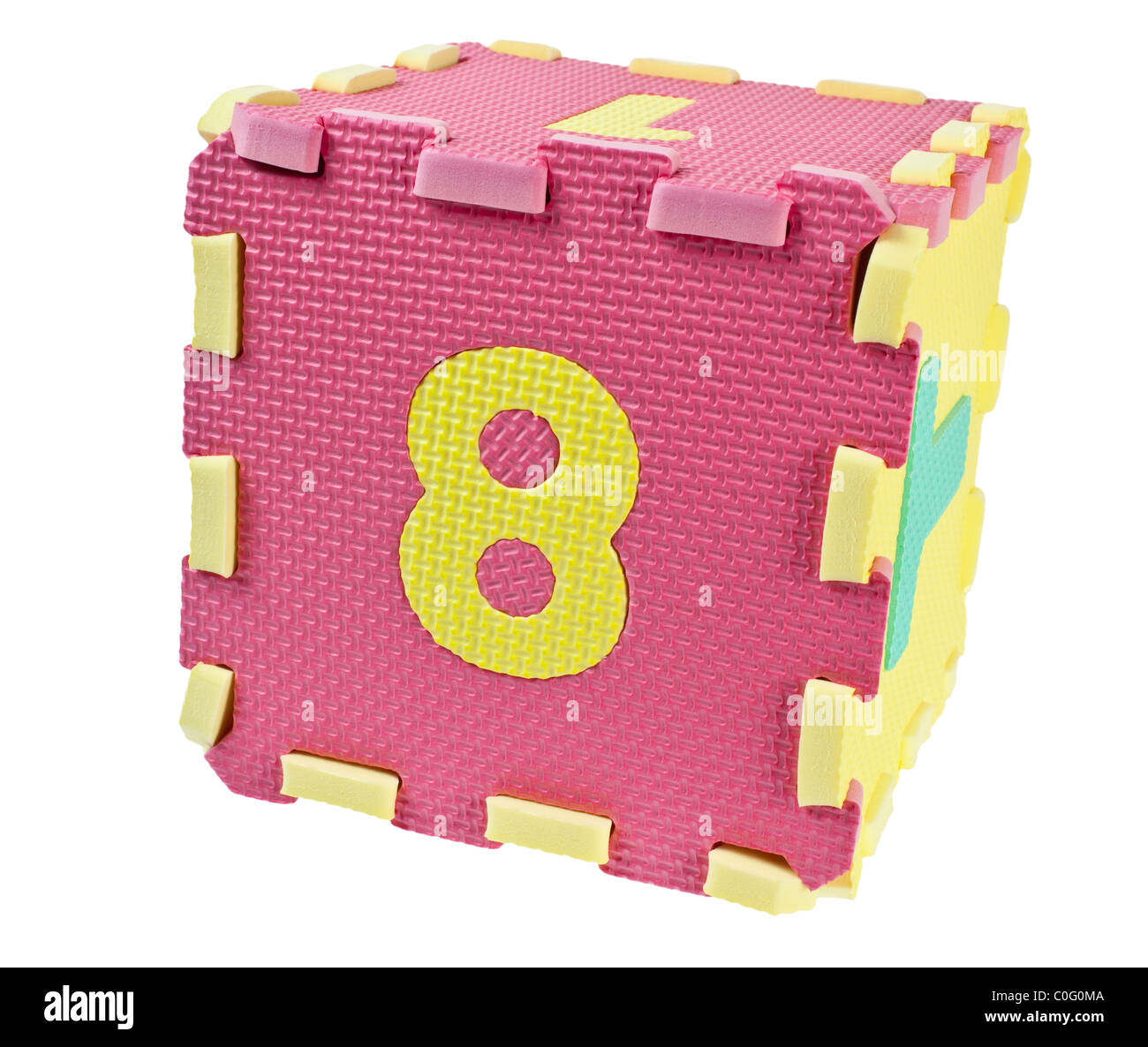 Toy blocks forming a cube with the number eight isolated on white background - Stock Image