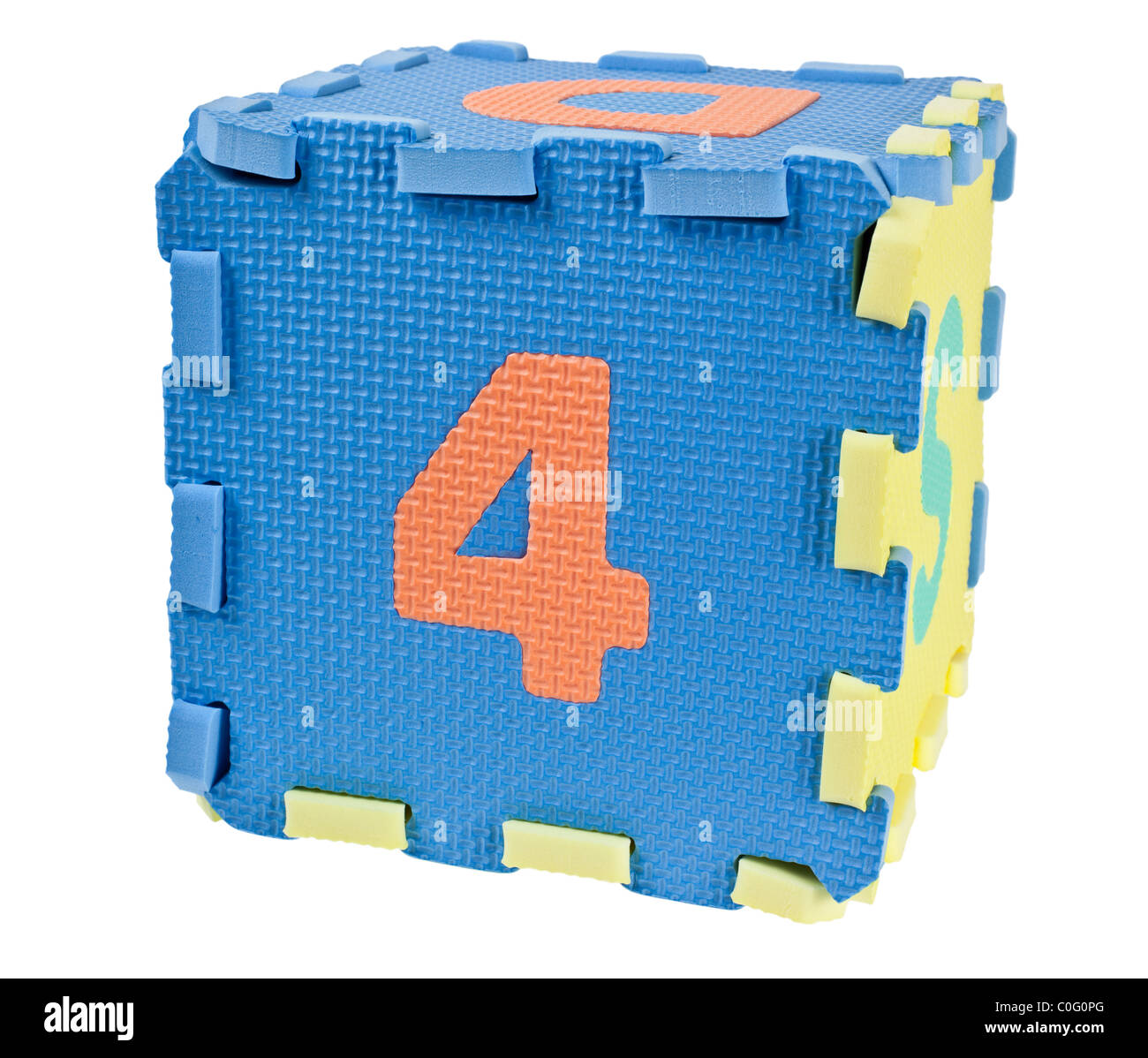 Toy blocks forming a cube with the number four isolated on white background - Stock Image