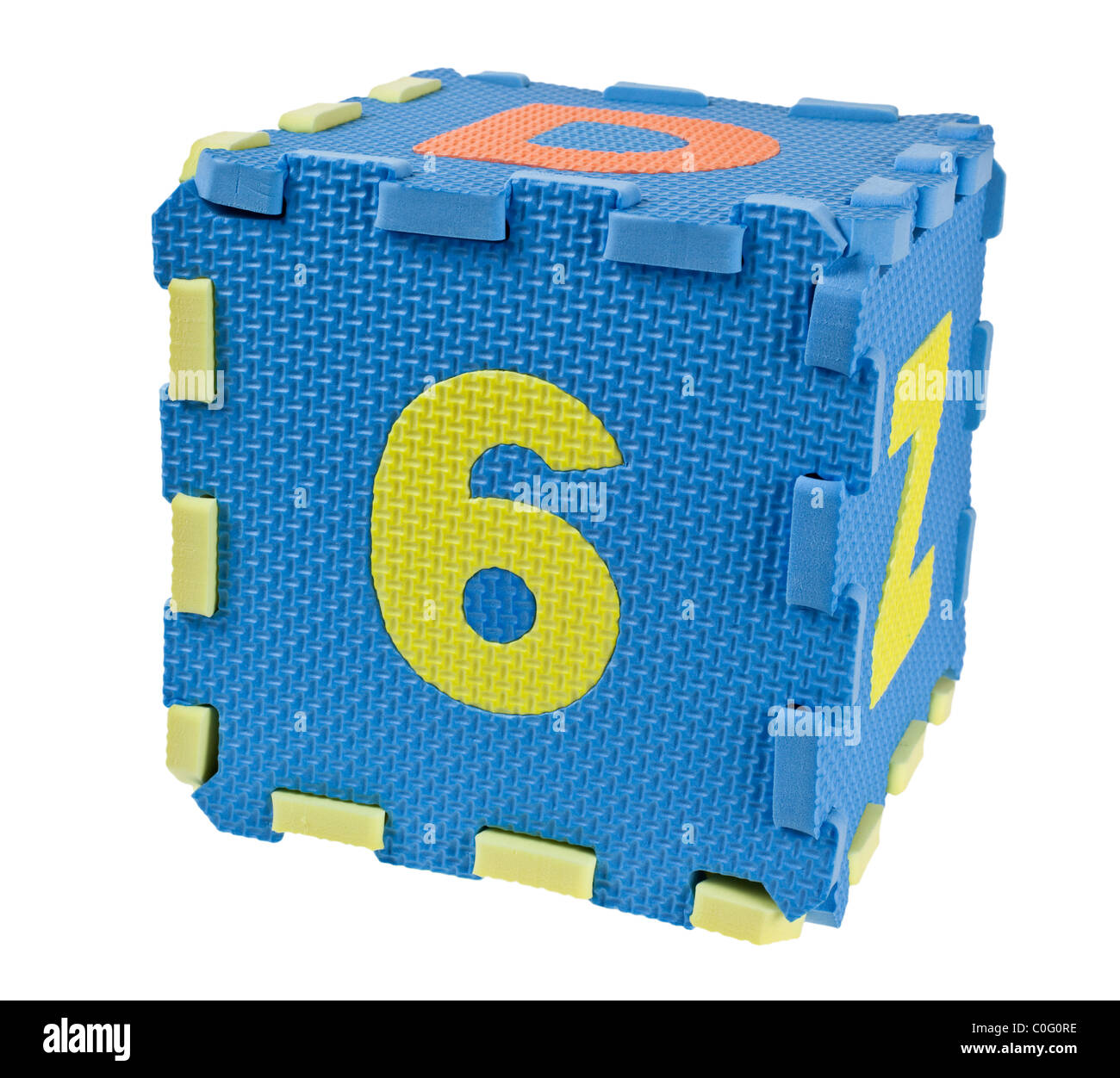 Toy blocks forming a cube with the number six isolated on white background - Stock Image