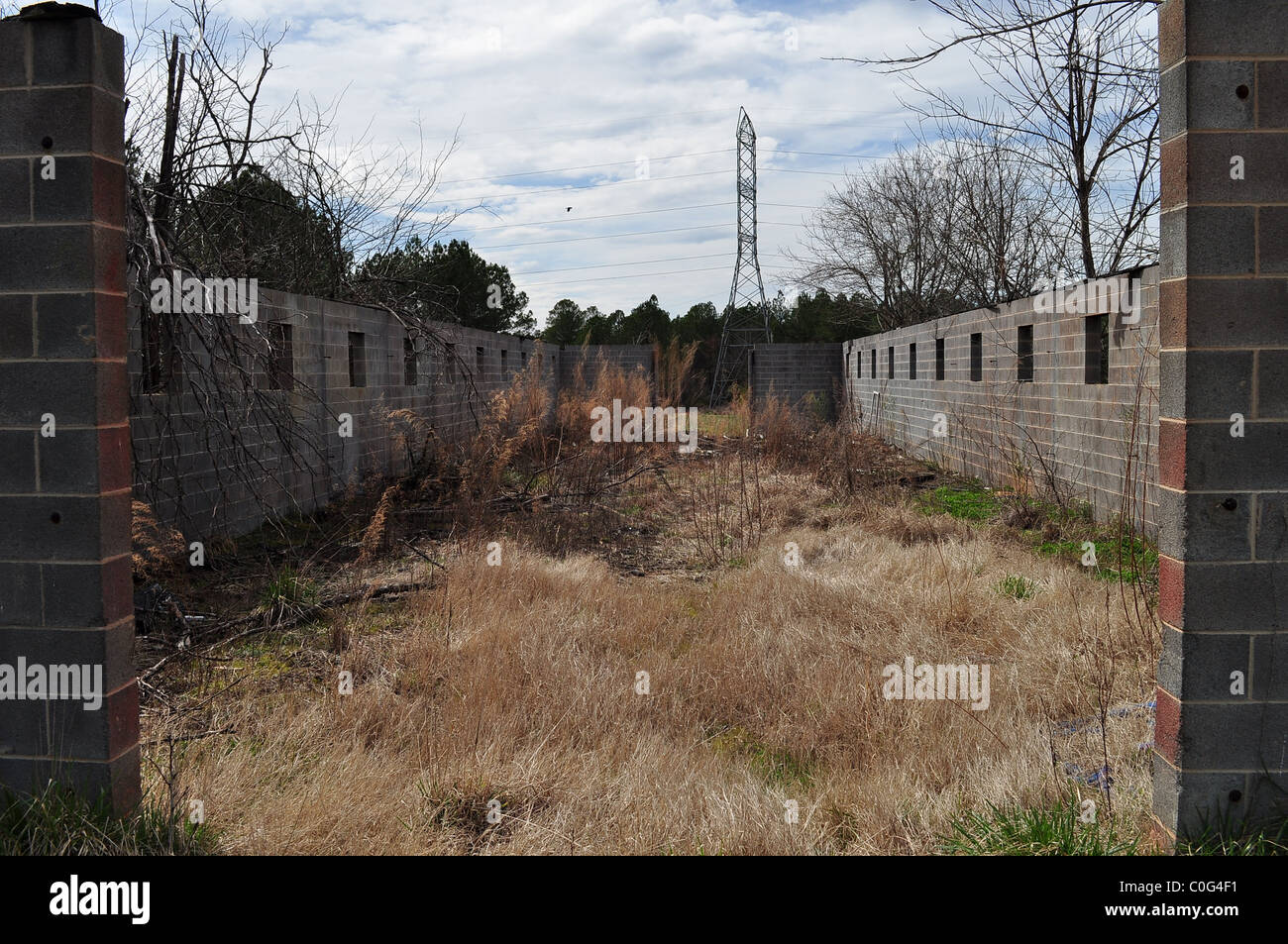 A demolished structure that has been overgrown with weeds, with power lines sitting in the background. - Stock Image