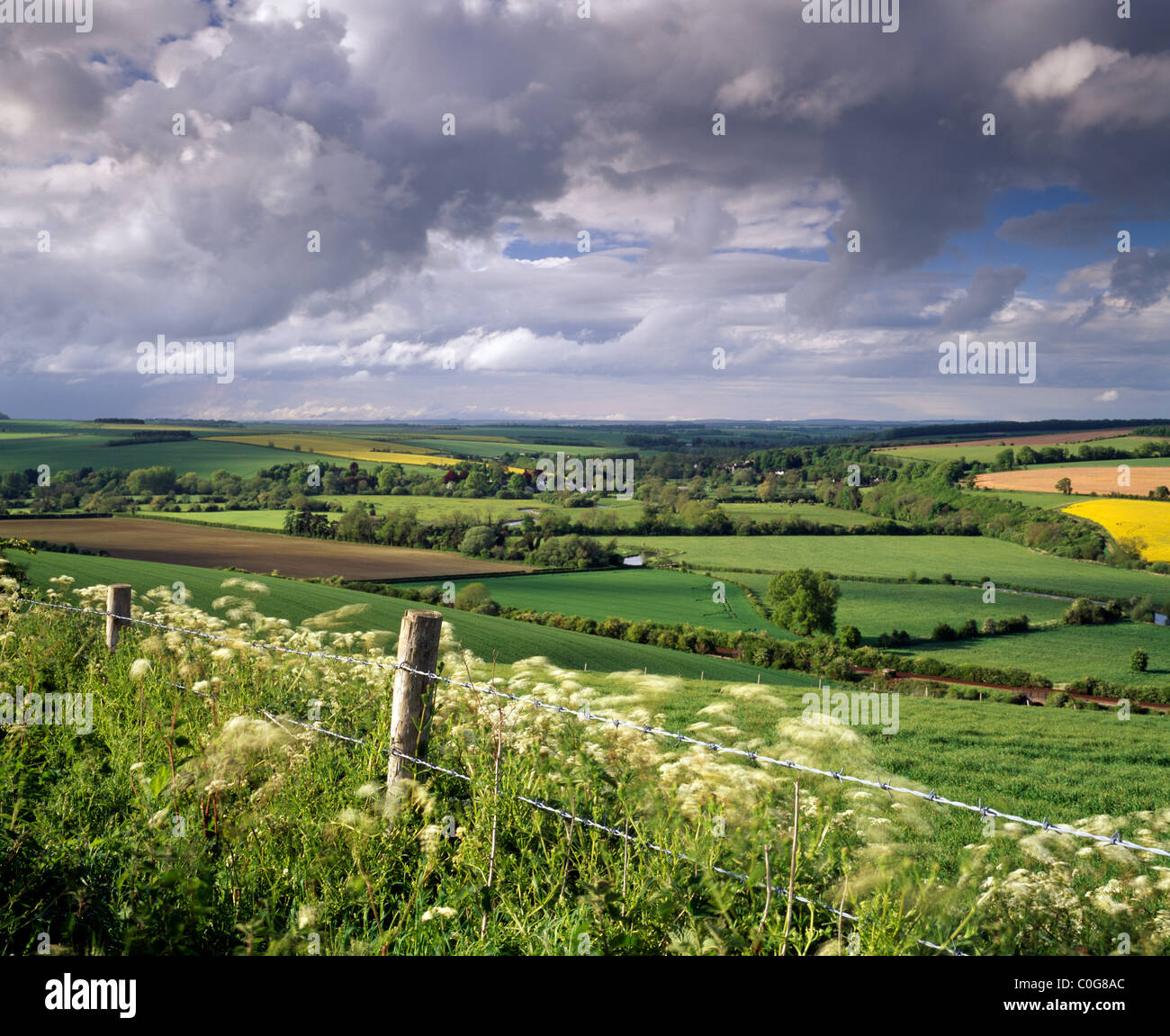 A view of the Wylye Valley in Wiltshire at Stapleford. Stock Photo