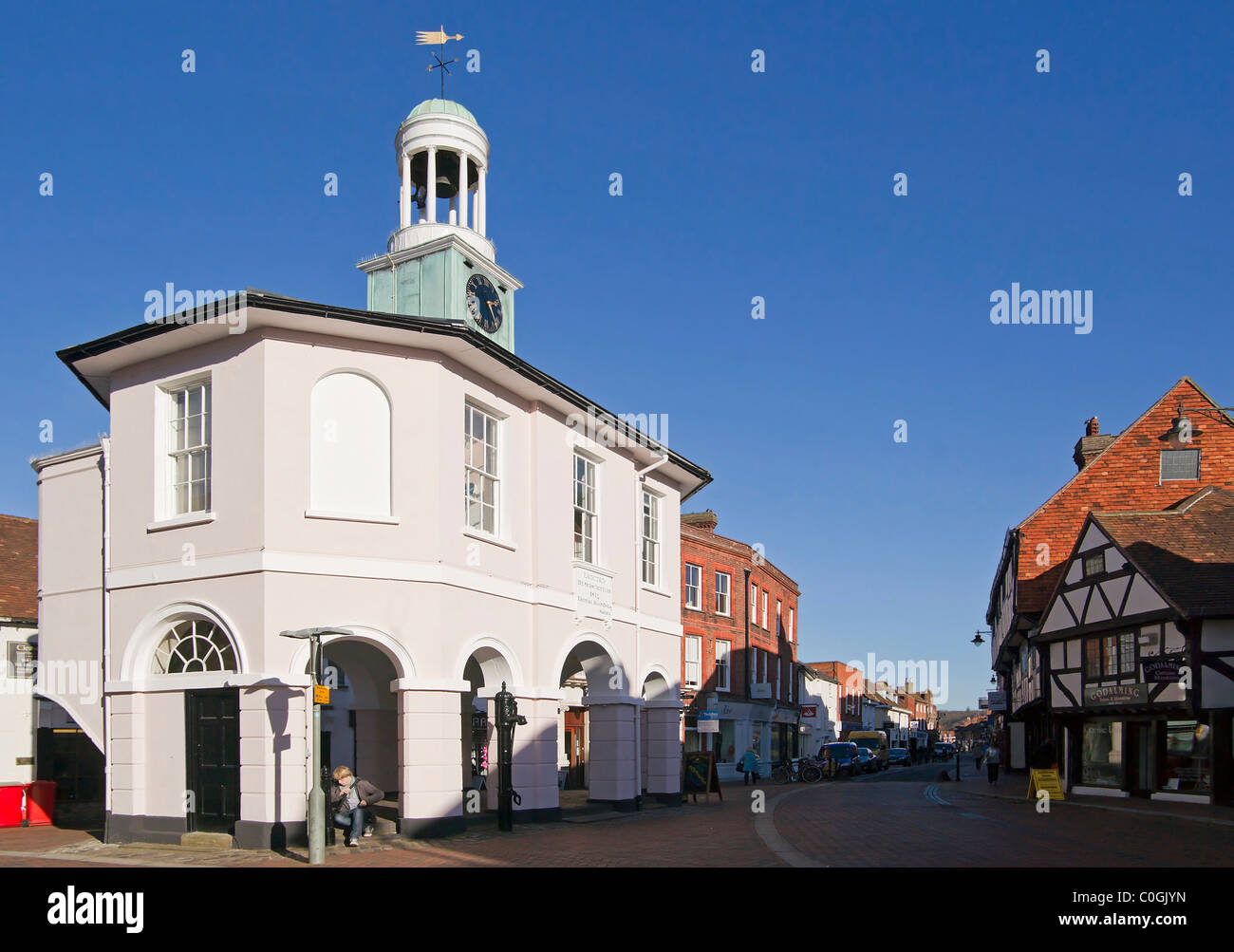 Pepperpot  (old town hall) and High Street Godalming - Stock Image