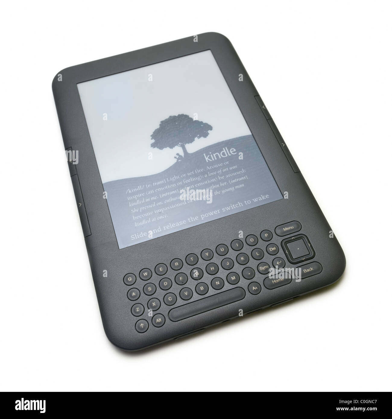 E-book electronic book reader device on white background - Stock Image