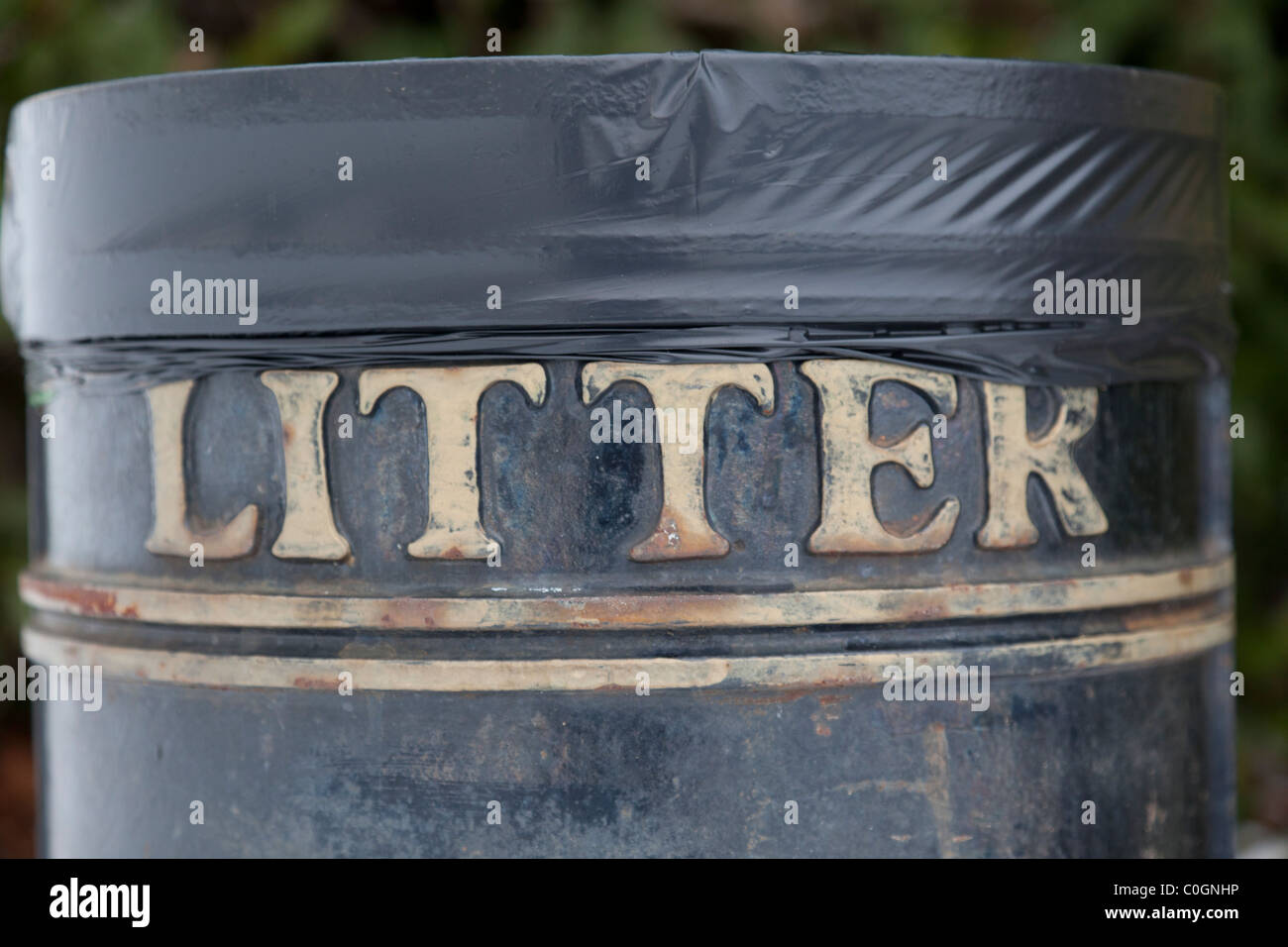 Black litter bin - Stock Image