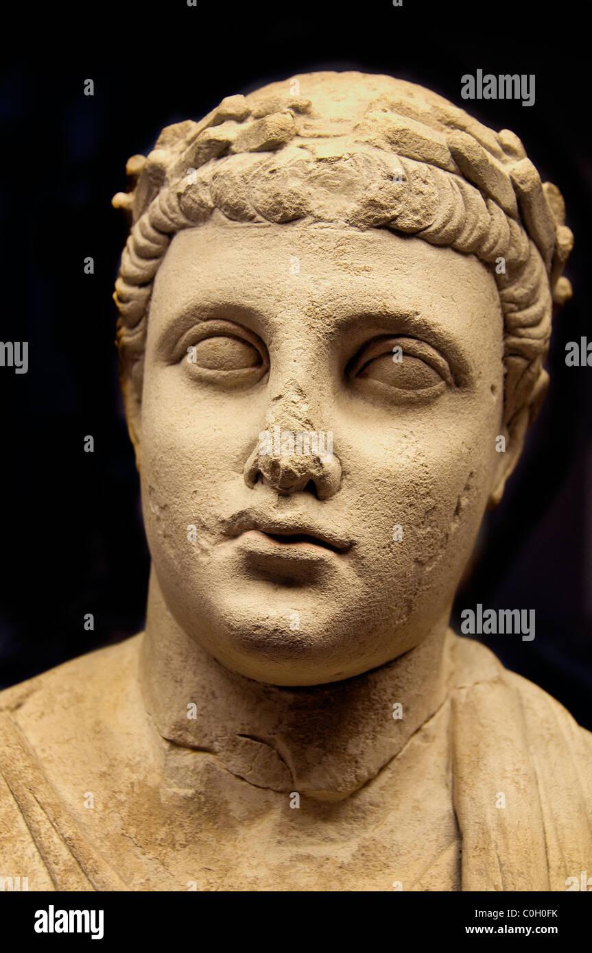 Statue of male worshipper Cyprus 300 BC Apollo Idalion Greek Greece - Stock Image