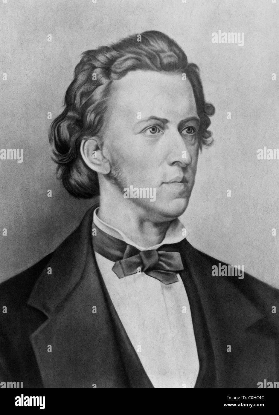 Vintage 19th century portrait of Polish composer and pianist Frederic Chopin (1810 - 1849). - Stock Image