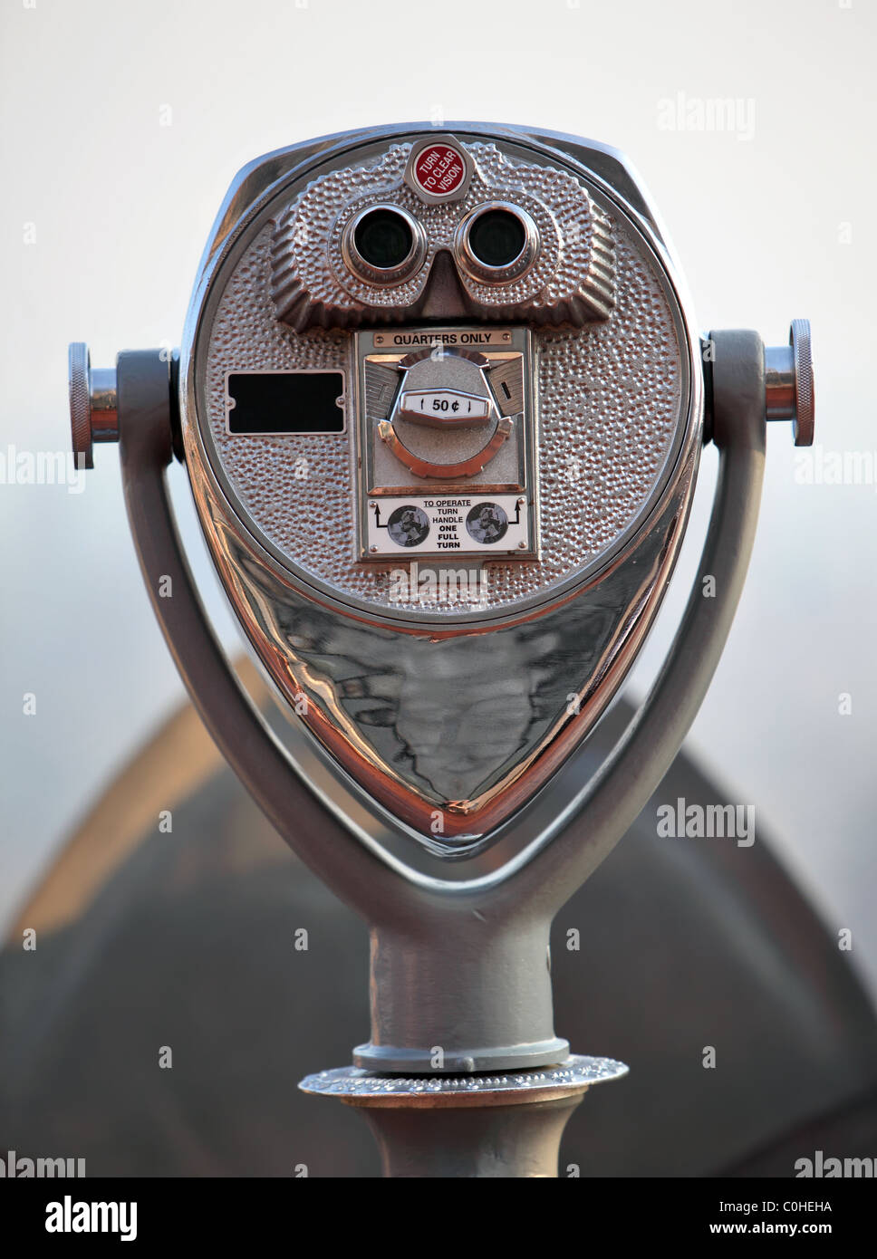 Silver coin operated pay binoculars deco style - Stock Image