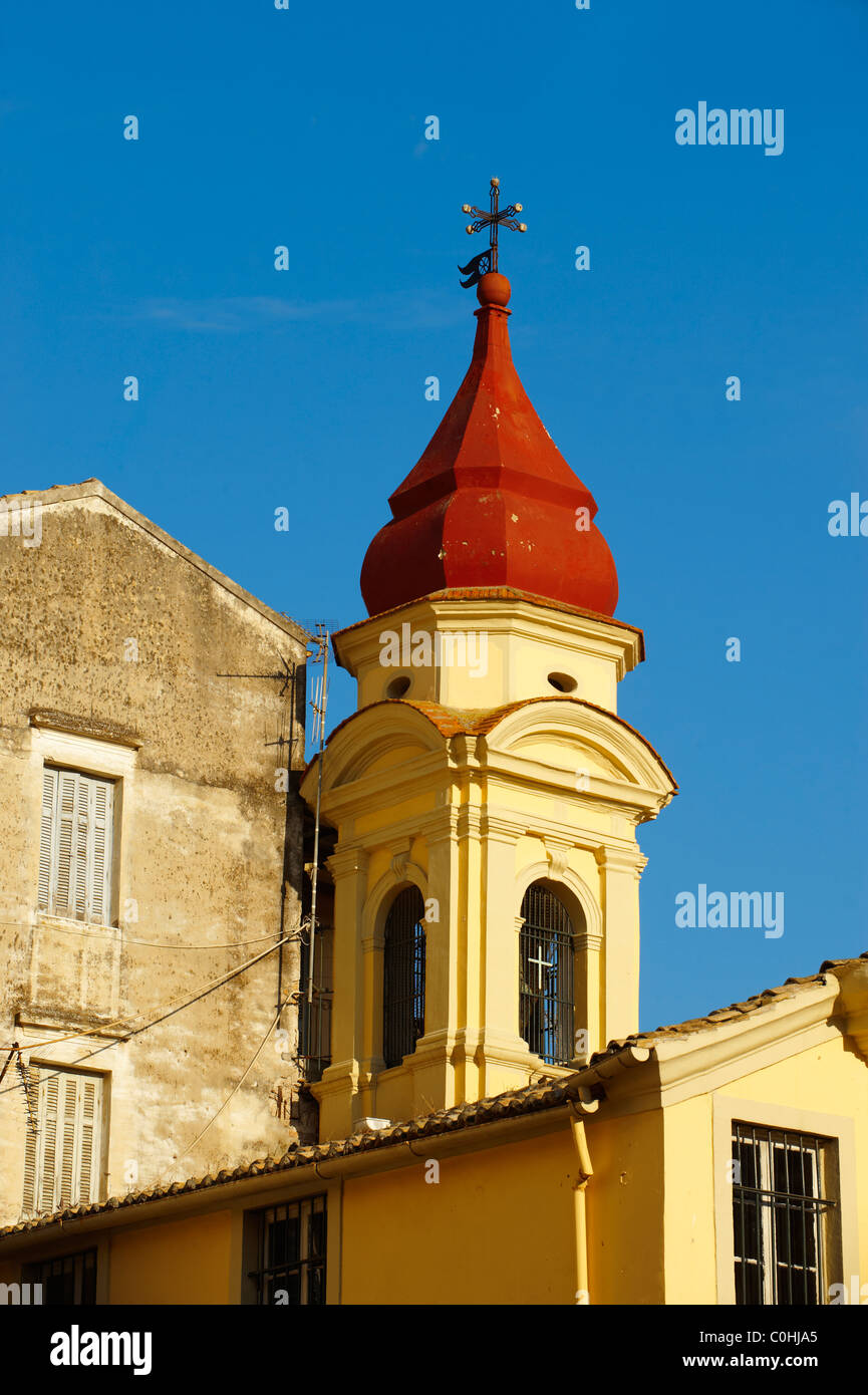 Church Spire Of a Greek Orthodox Church, Corfu Old Town, Greek Ionian Islands - Stock Image