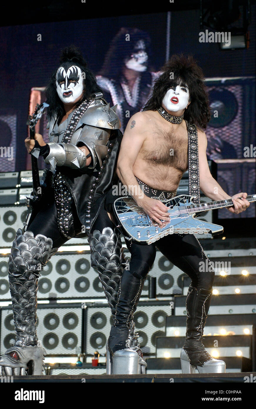 Gene Simmons and Paul Stanley of Kiss Performing Live Download Stock