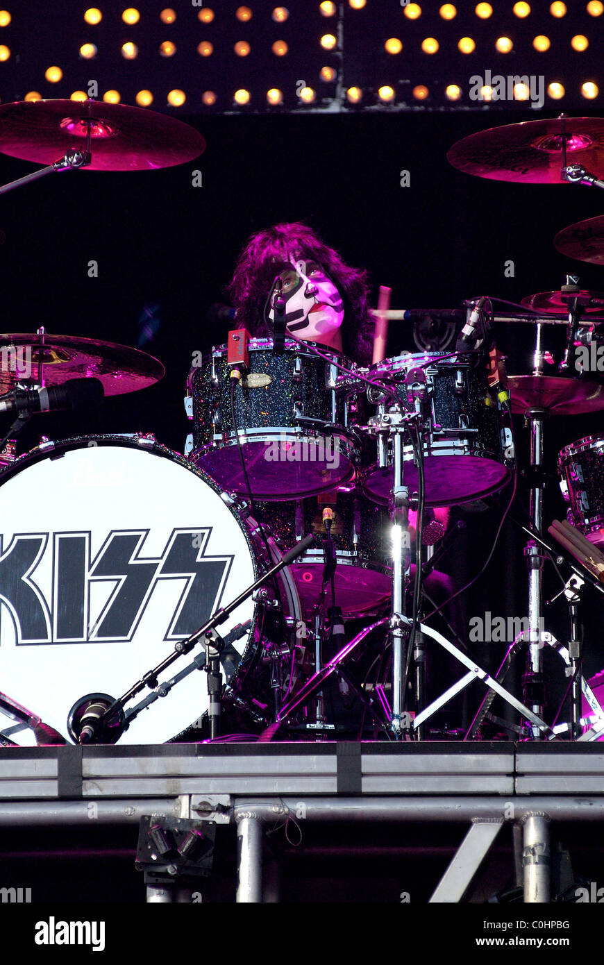 Eric Singer of Kiss Performing Live Download Festival 2008 - Day One