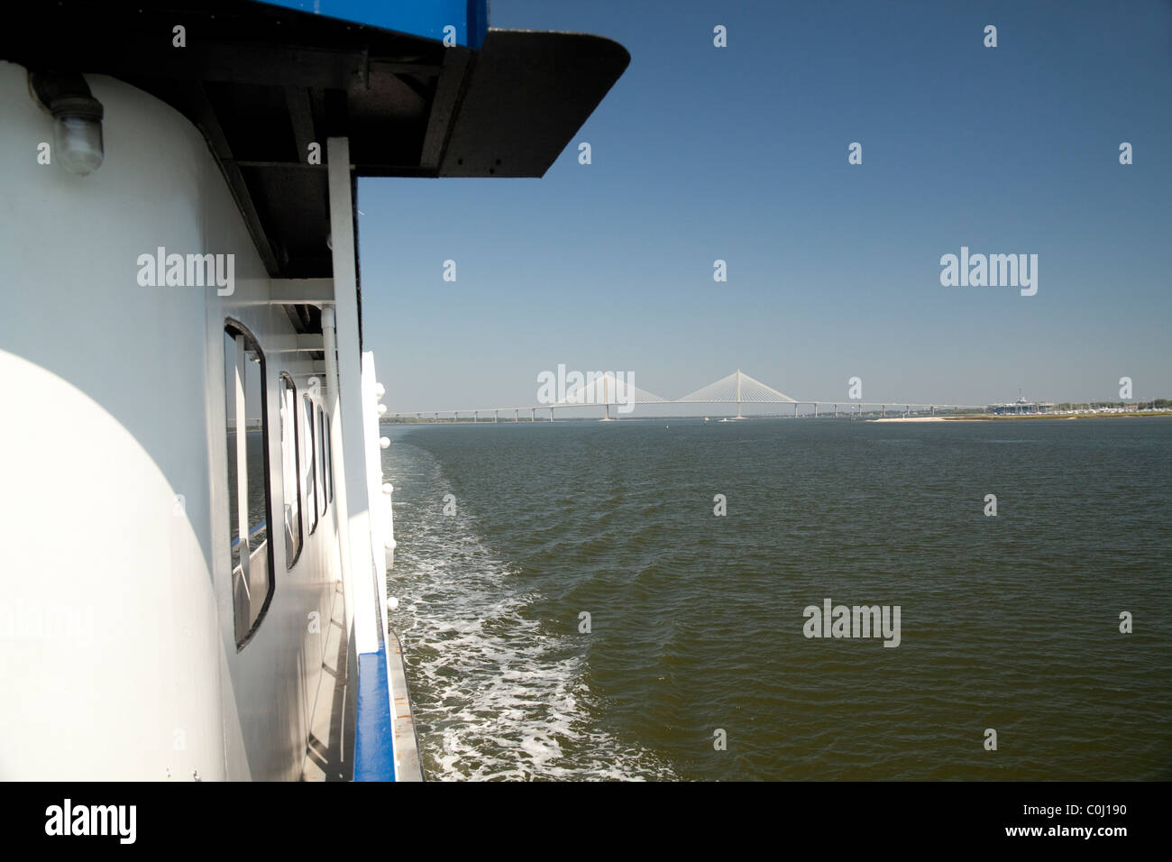 Ferry crossing Cooper River to Fort Sumter in South Carolina USA - Stock Image