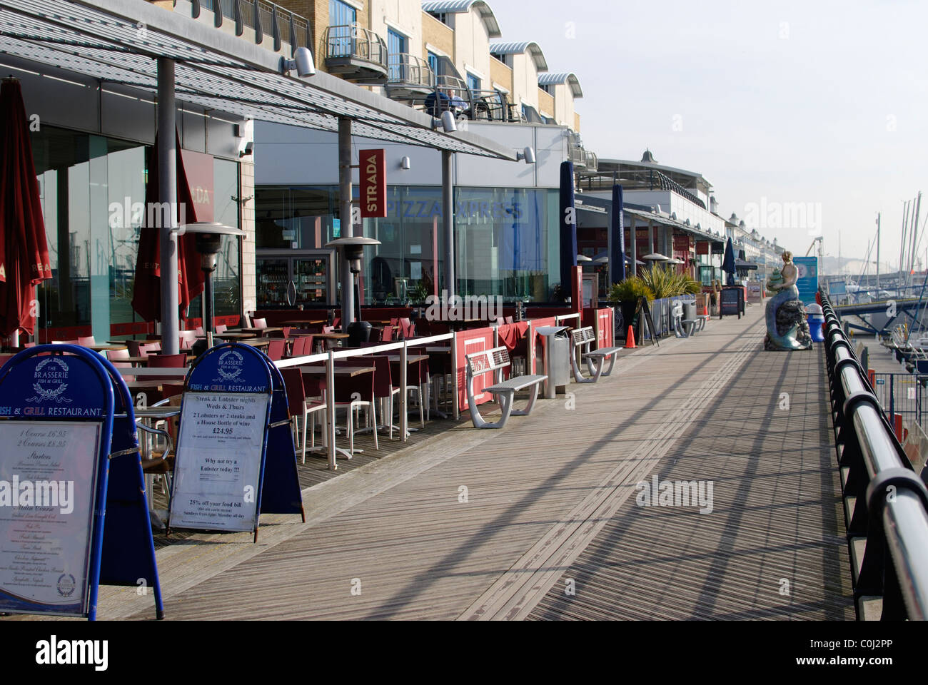 Restaurants in the marina at Brighton. East Sussex. England - Stock Image
