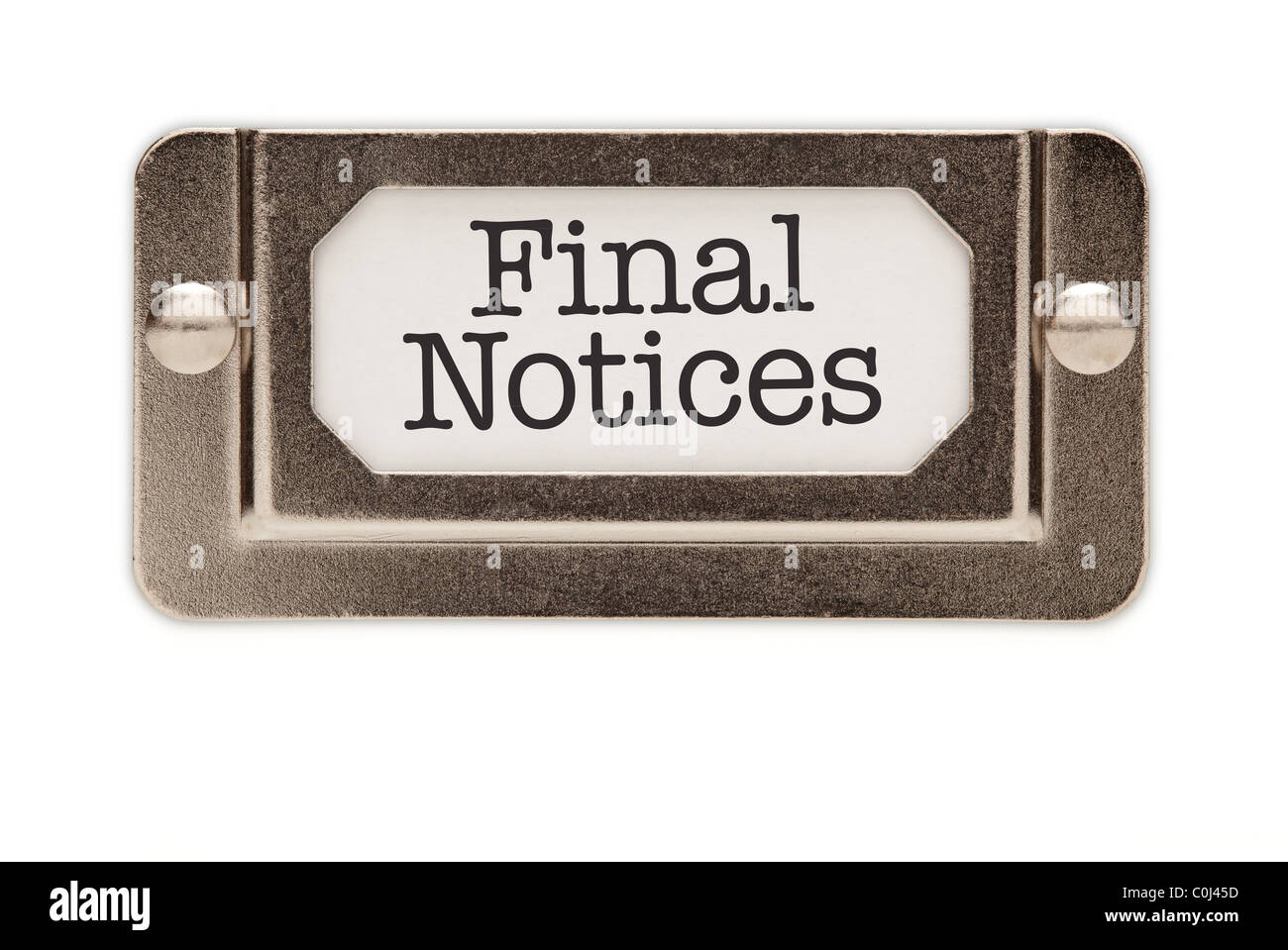 Final Notices File Drawer Label Isolated on a White Background. - Stock Image
