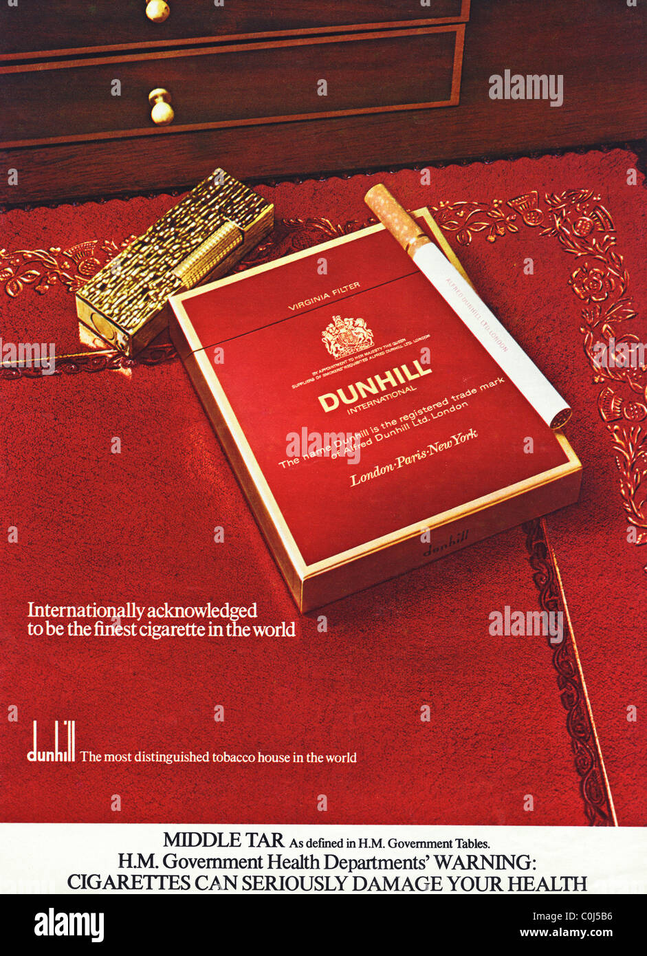 Full page advertisement in 1970s English men's magazine for DUNHILL filter tipped cigarettes - Stock Image