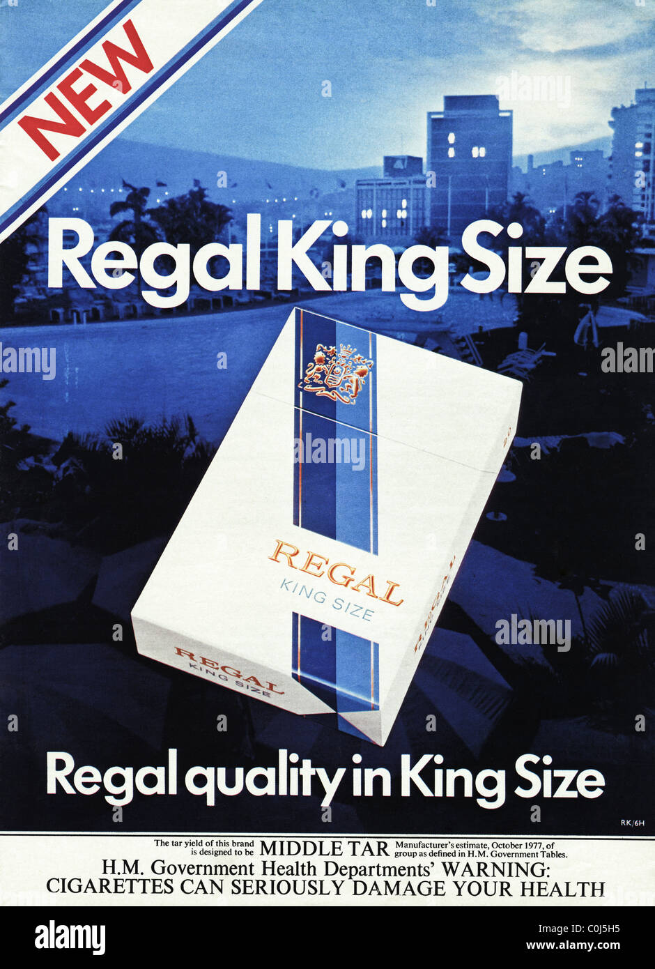 Full page advertisement in 1970s men's magazine for NEW REGAL KING SIZE filter tipped cigarettes - Stock Image
