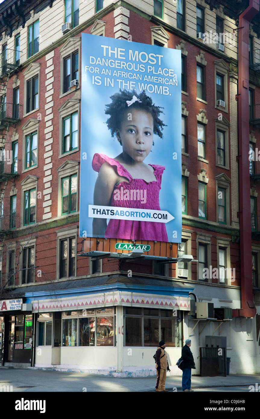 A pro-life billboard is seen in the Soho neighborhood of New York - Stock Image