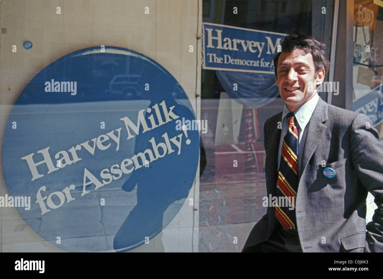 Harvey Milk runs for California State Assembly, at his camera store in 1976, San Francisco, USA - Stock Image
