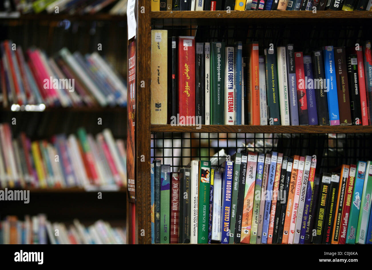 Library books in a UK public library. - Stock Image