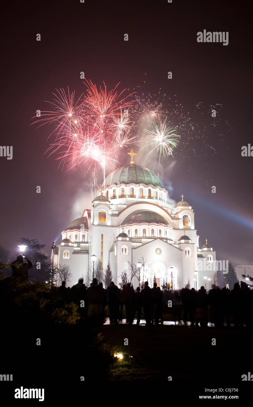 St Sava Temple in Belgrade, fireworks at Serbian New Year's Eve - Stock Image