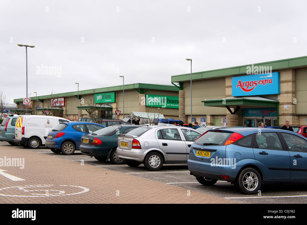 An out of town retail park at Truro in Cornwall, UK - Stock Image