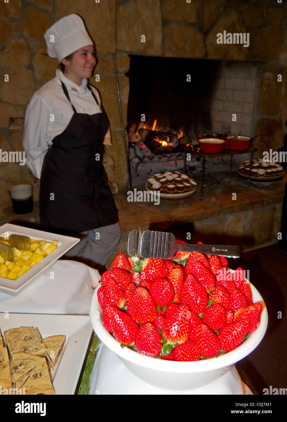 Dessert fondue at Fine Dining dinner, Deer Valley, Utah - Stock Image