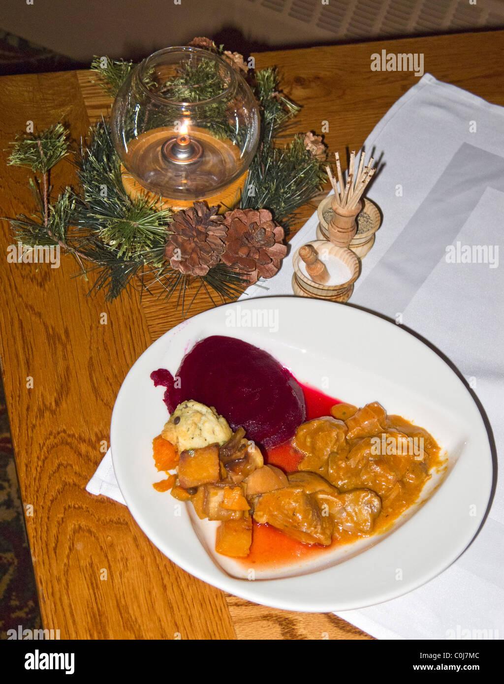 Pork stew at Fireside Dining dinner, Deer Valley, Utah - Stock Image