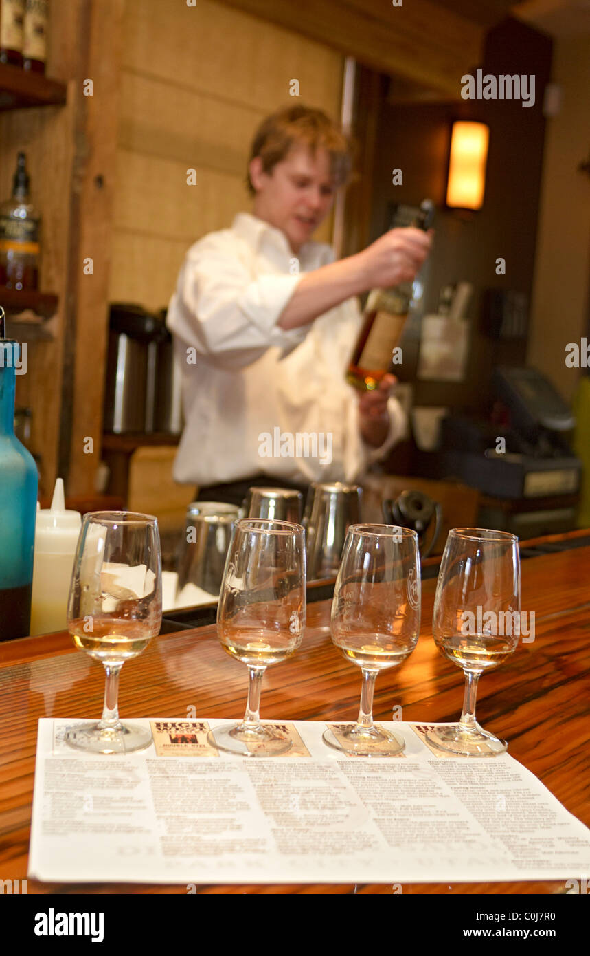 Whiskey tasting at High West Distillery & Saloon, the world's only ski in/ski out distillery, Park City, - Stock Image
