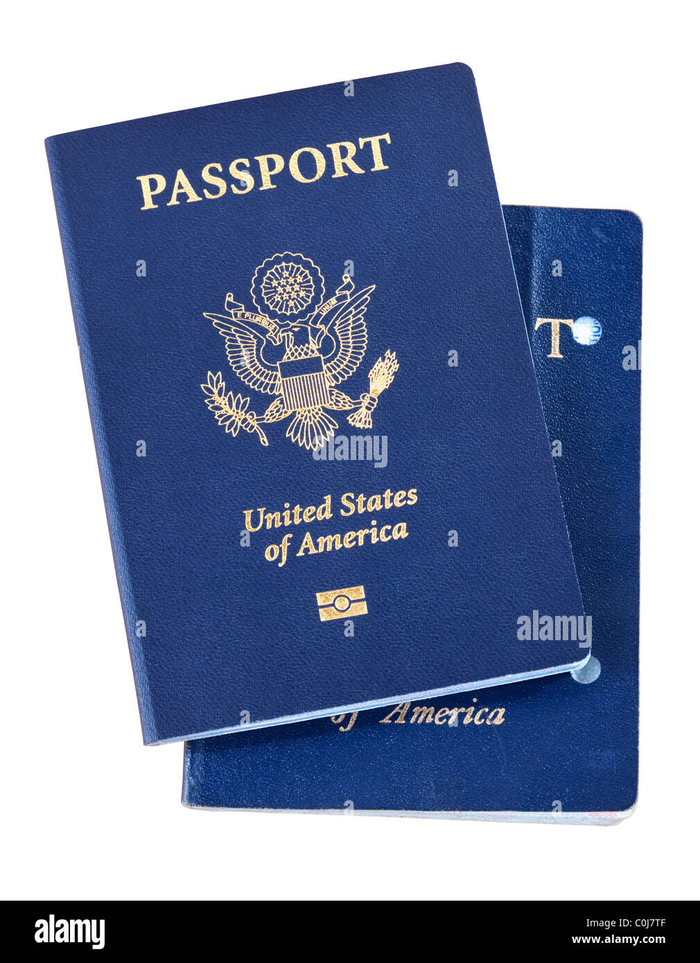 New electronic passport with old canceled non chipped version - Stock Image