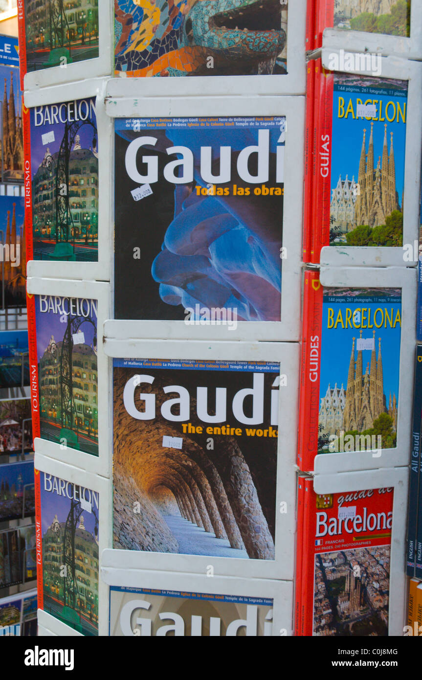 Architecture and guide books at a kiosk along La Ramla the Ramblas main boulevard central Barcelona Catalunya Spain - Stock Image