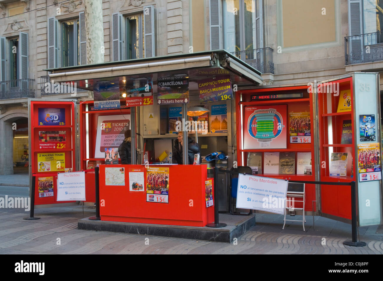 Booth selling tickets of football games and the museum at Camp Nou along La Ramla the Ramblas main boulevard central - Stock Image