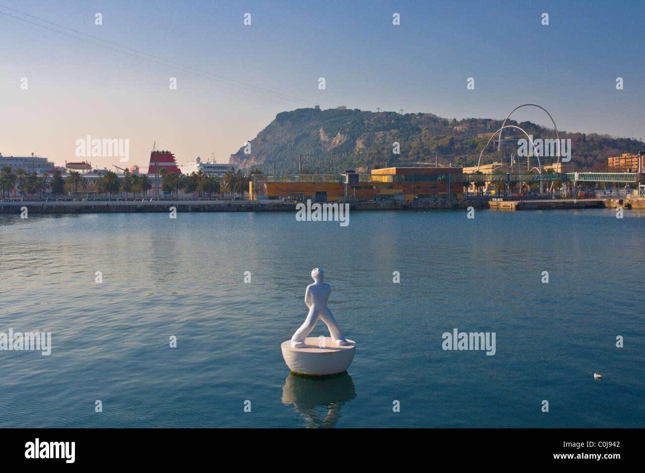 Life buoy at Port Vell central Barcelona Catalunya Spain Europe - Stock Image