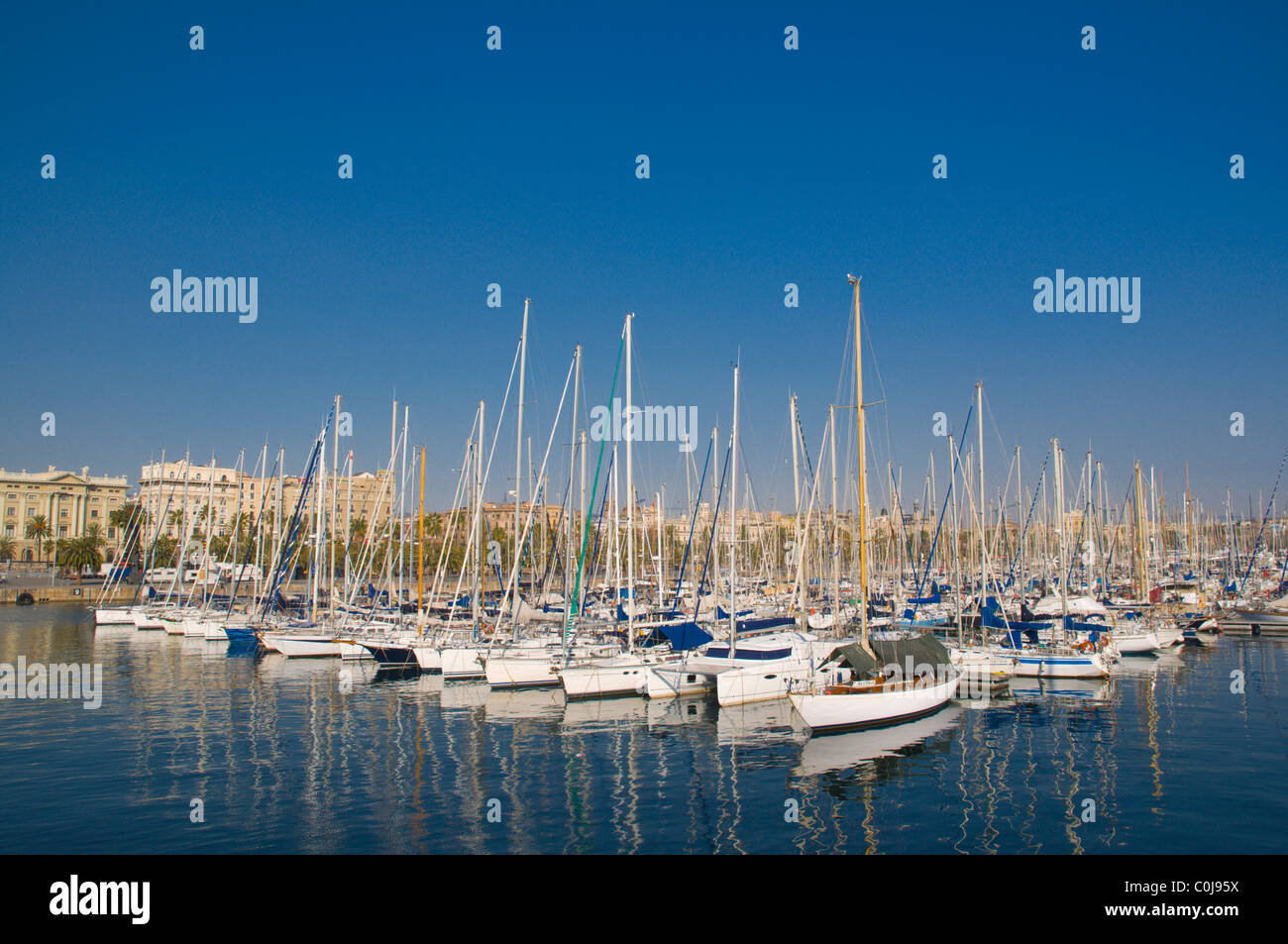Sailing boats at Port Vell harbour central Barcelona Catalunya Spain Europe - Stock Image