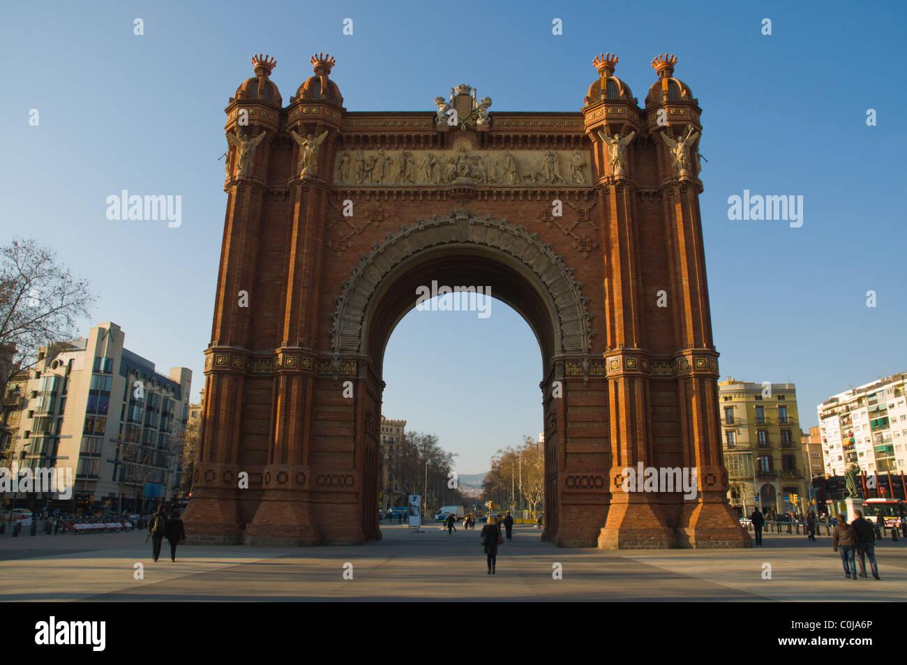 Arc de Triomf on Passeig de Llouis Companys pedestrian boulevard central Barcelona Catalunya Spain Europe - Stock Image