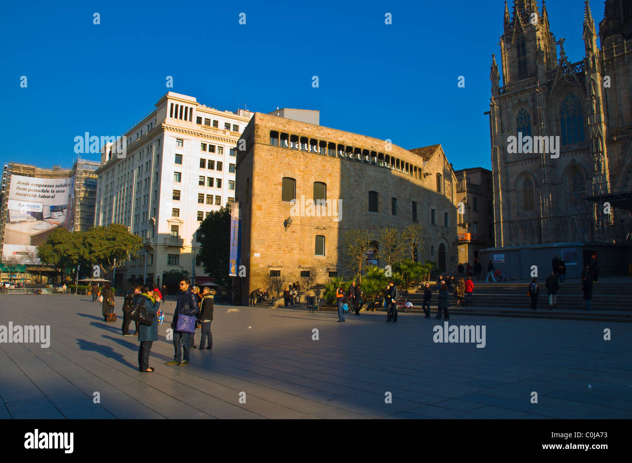 Placa del Rei square Barri Gotic quarter central Barcelona Catalunya Spain Europe - Stock Image
