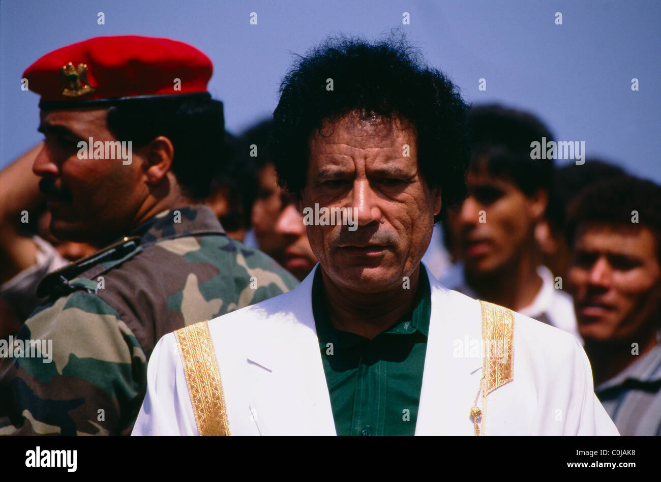 Libyan President Muammar Gaddhafi during the celebrations marking his 20th anniversary in power. - Stock Image
