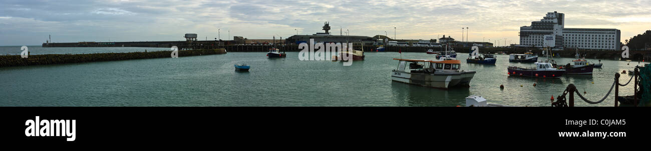 Panoramic view of Folkestone Harbour - Stock Image