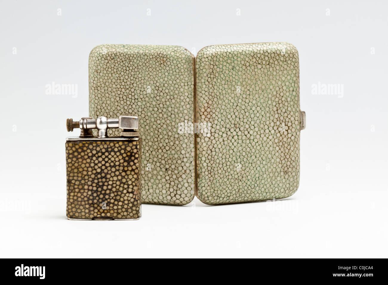 Shagreen (shark skin) cigarette case and cigarette lighter. 1920s - Stock Image