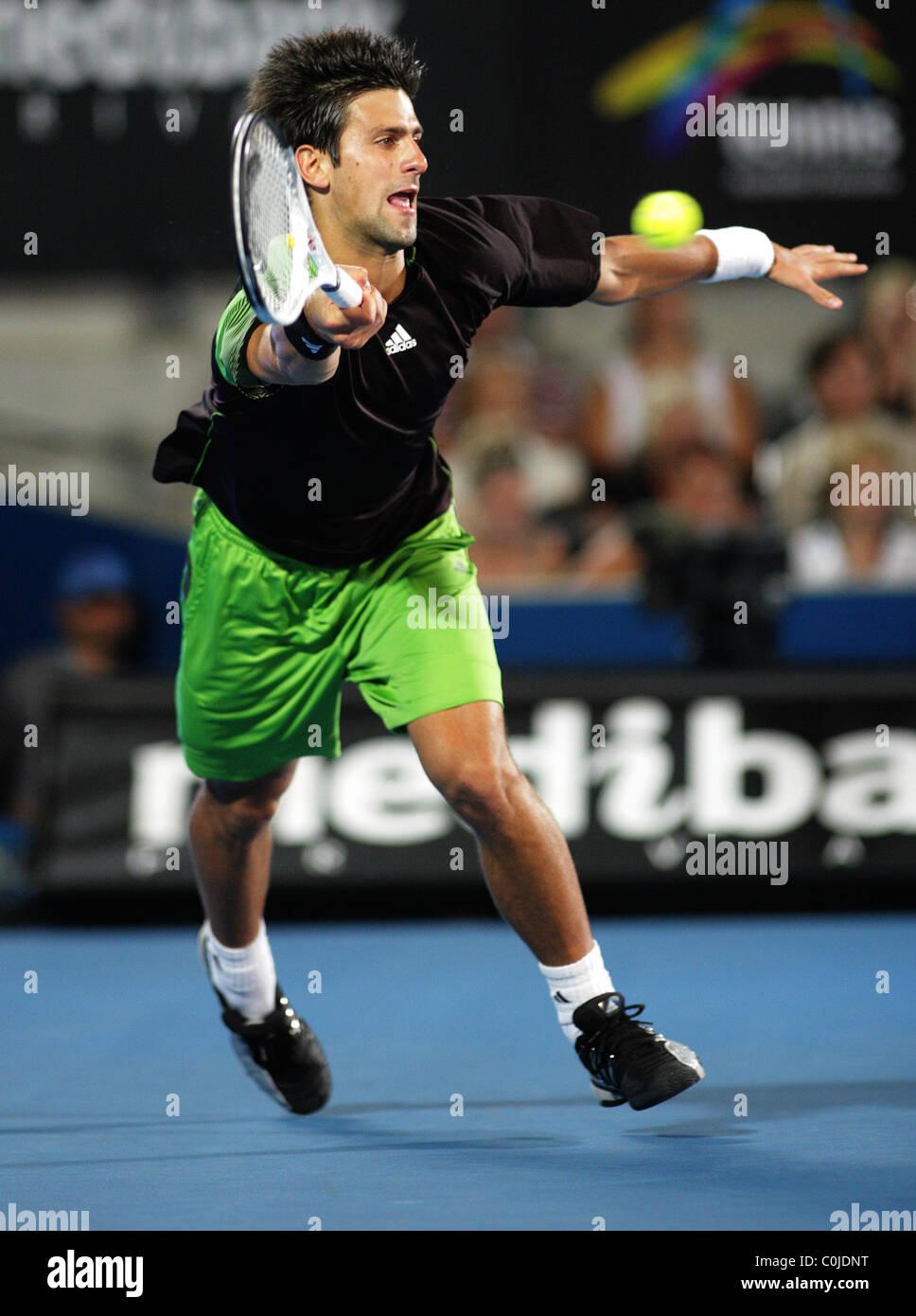 Novak Djokovic, Serbia in action during the Medibank International, Sydney. - Stock Image